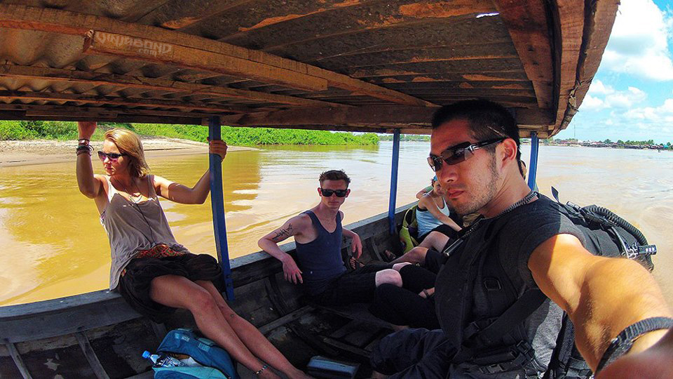 On The Longboat Ferry to Don Det Island of The 4000 Islands in Laos