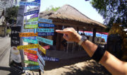 Bel Air City Distance Sign at Gili Air Island, Indonesia /// Vinjatek