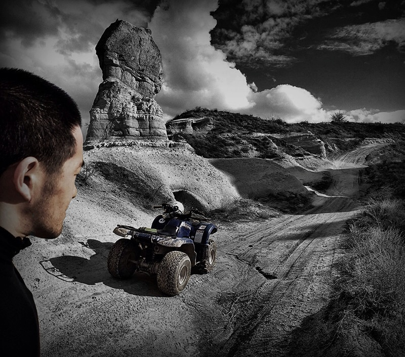 Selfie while ATV'ing in Cappadocia, Turkey - VINJABOND