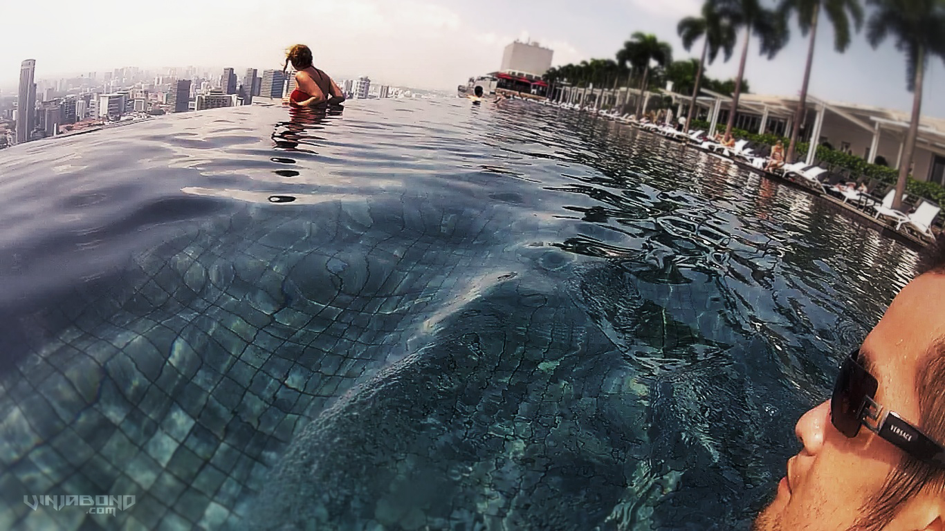 Selfie at the Marina Bay Sands Infinity Pool in Singapore - VINJABOND