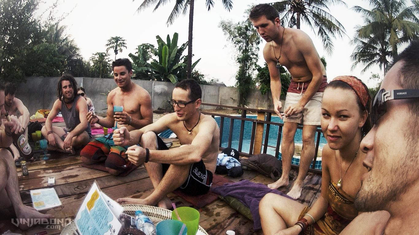 Backpacker Pool Party in Luang Prabang, Laos // VINJABOND
