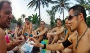 Backpackers at a Pool Party in Luang Prabang, Laos /// Vinjatek