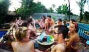 Hostel Backpackers at a Pool Party in Luang Prabang, Laos /// Vinjatek