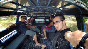 Backpacking Taxi Ride to Haad Beach in Koh Phangan - John Cain Vagabonding