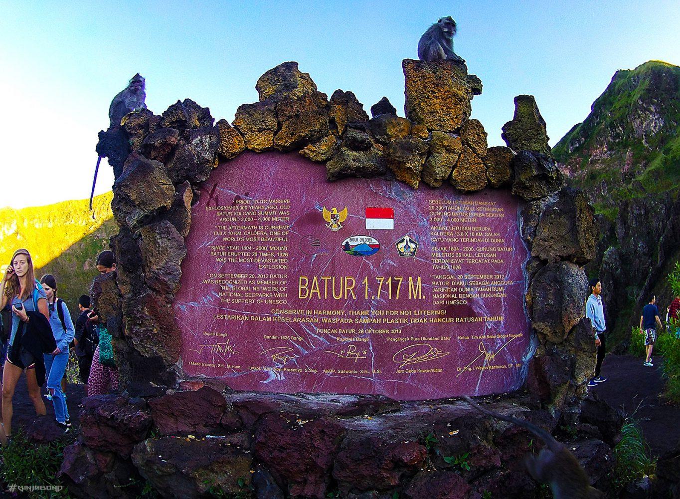 Mount Batur Peak Sign /// Vinjabond