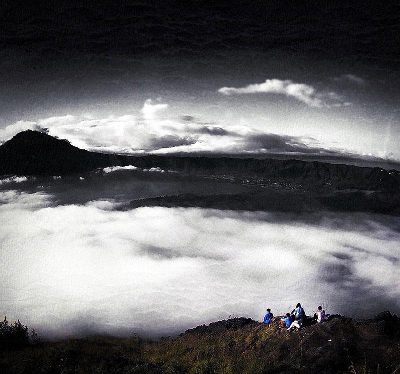 Mount Batur Volcano Cliff in Bali, Indonesia ///