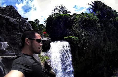Vollebak Condition Black Ceramic T-Shirt at a Waterfall in Bali, Indonesia /// Vinjatek