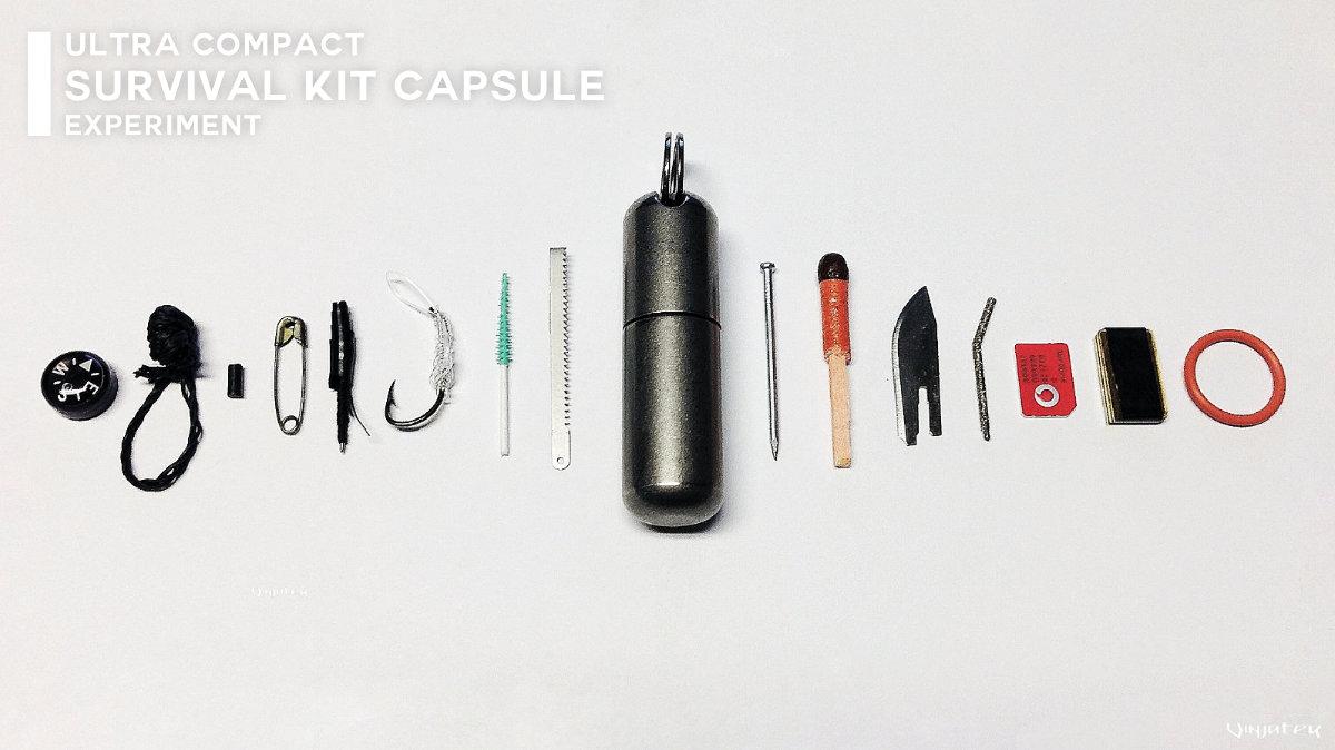 Ultra Compact Survival Kit Capsule Experiment /// Vinjatek Poster
