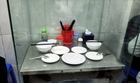 Table at Bún Chả Hương Liên Obama Restaurant in Hanoi, Vietnam /// Vinjatek