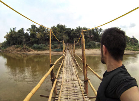 Bamboo Bridge in Luang Prabang, Laos /// Vinjatek