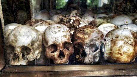 Clandestine Operation of Skulls of The Khmer Rouge Killing Fields of Choeung Ek, Phnom Penh, Cambodia /// Vinjatek