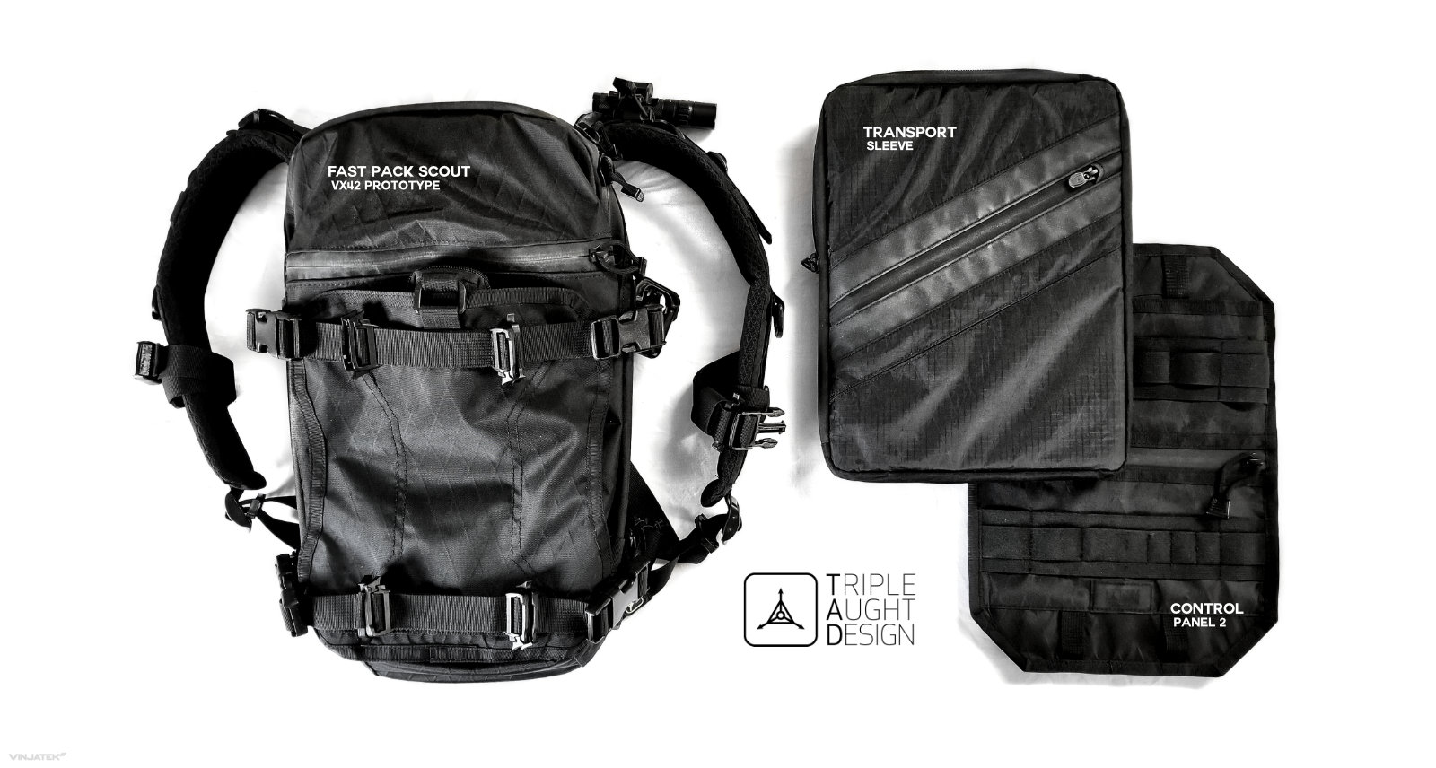 Triple Aught Design FAST Pack Scout VX42 Prototype, Control Panel 2 and Transport Sleeve /// Vinjatek