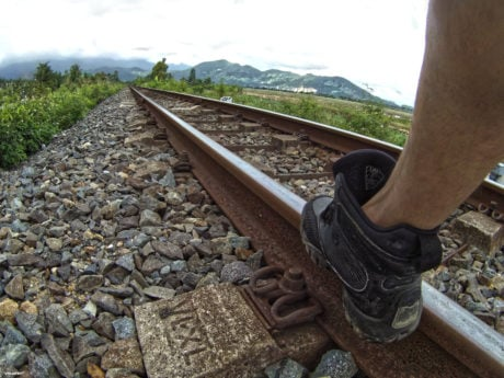 LALO Shadow Amphibian Boots on Train Tracks in Vietnam /// Vinjatek