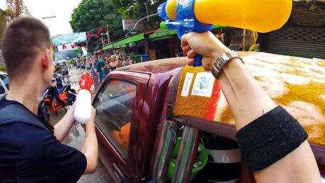 Songkran Festival Water Gun Fight on The Streets of Pai, Thailand /// Vinjatek